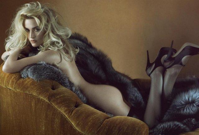 Naken Kate Winslet i päls