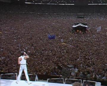 Queen på Live Aid och Wembley Stadium i juli 1985