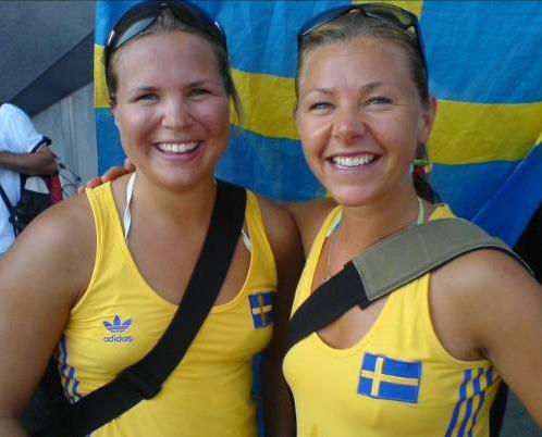 Anja Pärsson och före detta fotbollspelaren Tina Nordlund