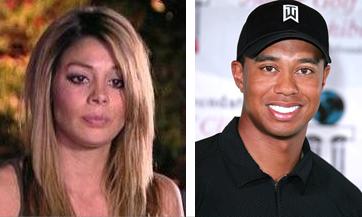 Jaimee Grubbs och en då leende Tiger Woods