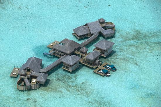 Kolla in rutschkanan på Maldiverna